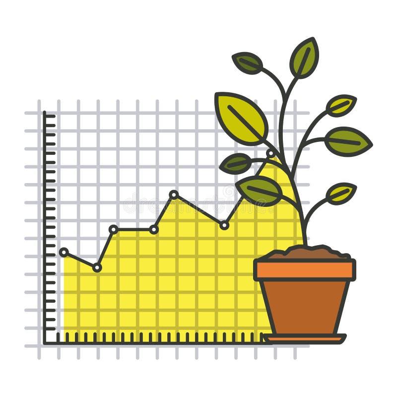 Ζωηρόχρωμη σκιαγραφία της ανάπτυξης και του οικονομικού κινδύνου γραφικών ελεύθερη απεικόνιση δικαιώματος