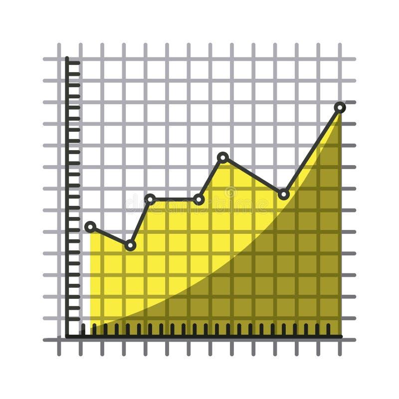 Ζωηρόχρωμη σκιαγραφία του οικονομικού κινδύνου γραμμών γραφικού με τη μισή σκιά ελεύθερη απεικόνιση δικαιώματος