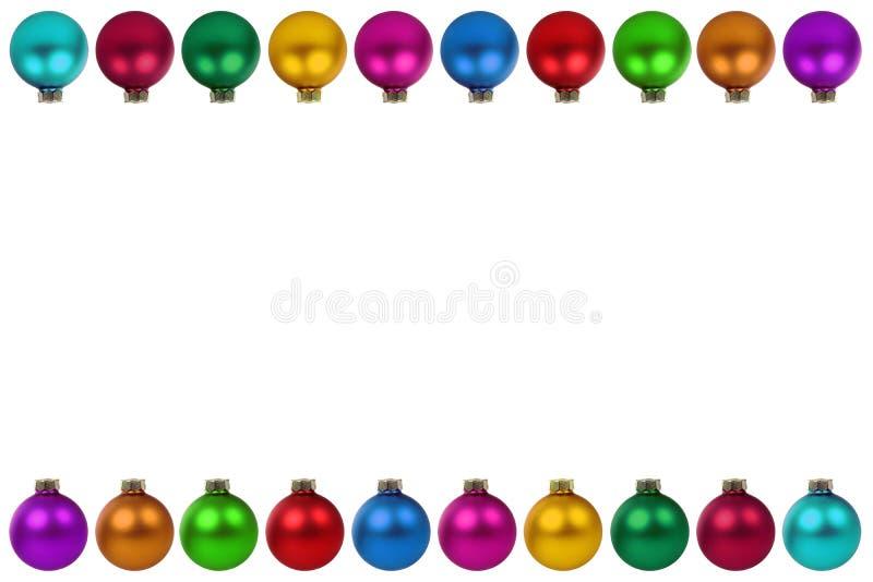 Ζωηρόχρωμη σπόλα συνόρων διακοσμήσεων μπιχλιμπιδιών σφαιρών Χριστουγέννων copyspace διανυσματική απεικόνιση