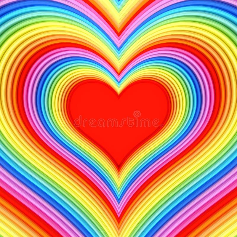 Ζωηρόχρωμη στιλπνή μορφή καρδιών με το κόκκινο κέντρο απεικόνιση αποθεμάτων