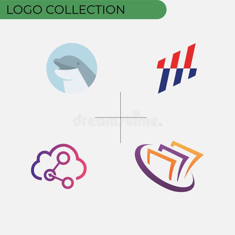 Ζωηρόχρωμη συλλογή επιχειρησιακών λογότυπων διανυσματική απεικόνιση