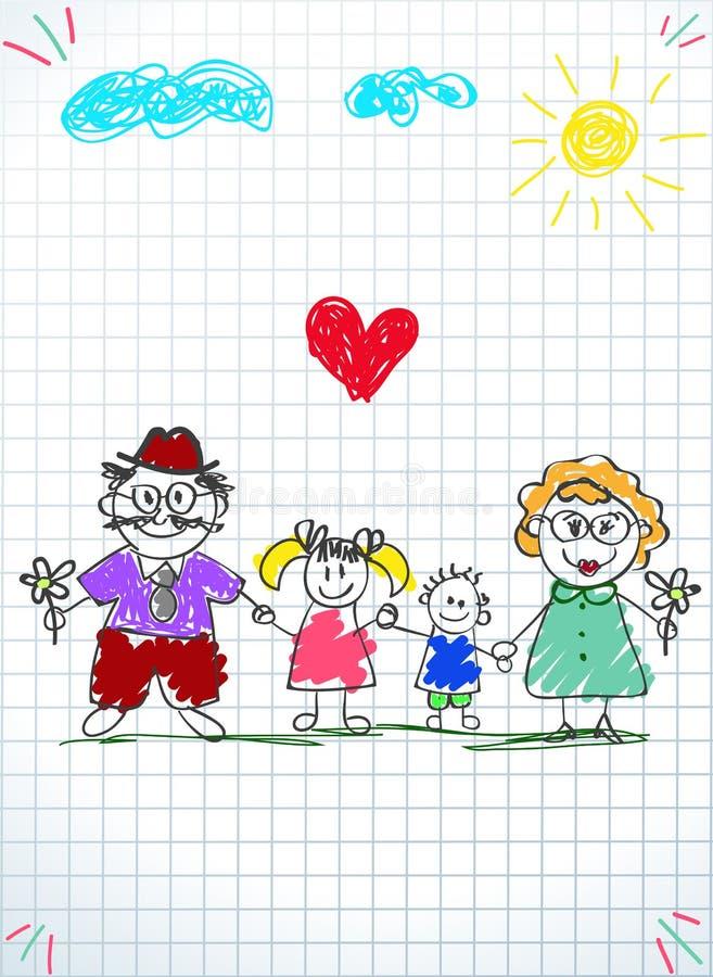 Ζωηρόχρωμη συρμένη χέρι διανυσματική απεικόνιση παιδιών του άνδρα, της γυναίκας και των παιδιών που κρατούν τα χέρια απεικόνιση αποθεμάτων