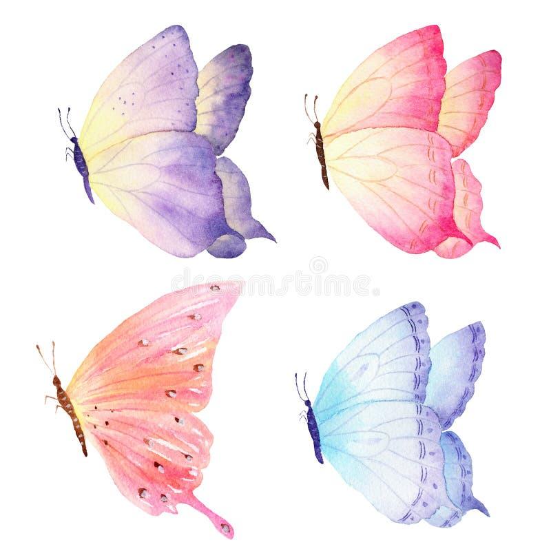 Ζωηρόχρωμη συρμένη χέρι συλλογή πεταλούδων watercolor Ιδανικό για τις προσκλήσεις, κάρτες, ταπετσαρίες, που τυπώνουν στο ύφασμα ελεύθερη απεικόνιση δικαιώματος