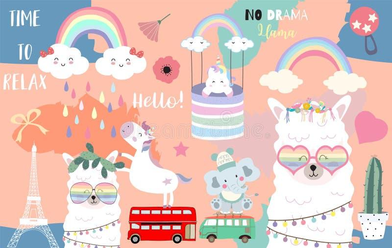 Ζωηρόχρωμη συρμένη χέρι χαριτωμένη κάρτα με llama, ουράνιο τόξο, μονόκερος, νωθρότητα, σύννεφο, ελέφαντας, φορτηγό Κανένα llama δ διανυσματική απεικόνιση