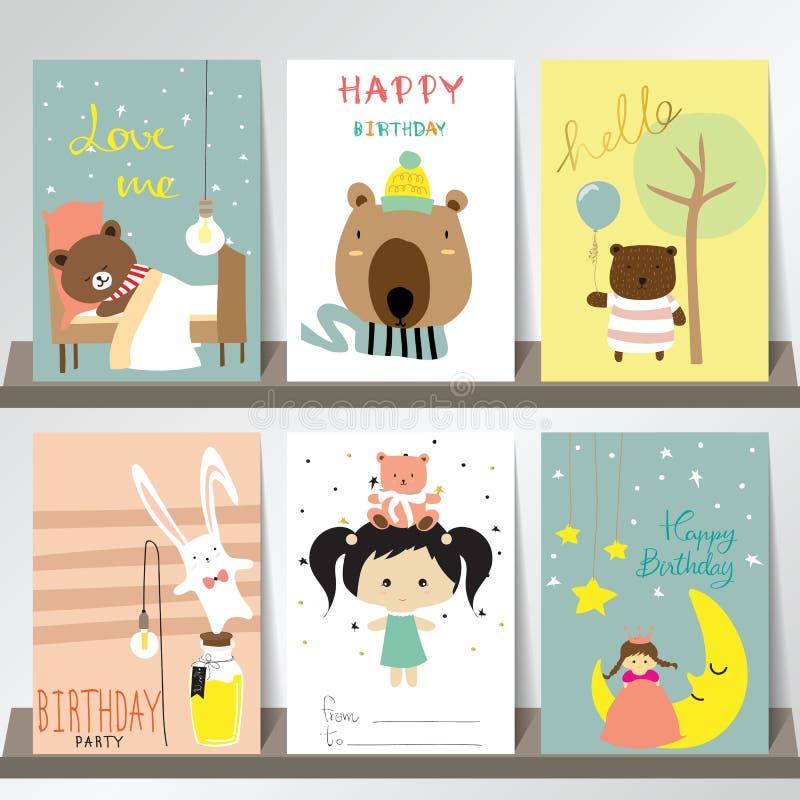Ζωηρόχρωμη συλλογή για τα εμβλήματα, ιπτάμενα, αφίσσες με την αρκούδα, κουνέλι απεικόνιση αποθεμάτων
