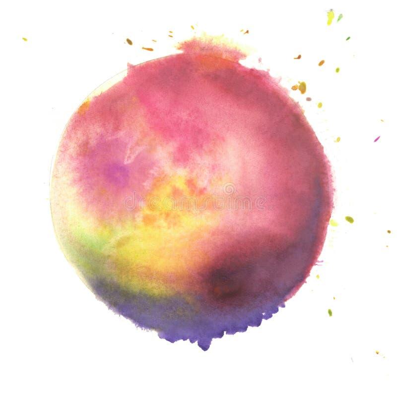 Ζωηρόχρωμη σφαίρα watercolor Μπλε, κίτρινος, liliac και κόκκινο χρώμα ελεύθερη απεικόνιση δικαιώματος