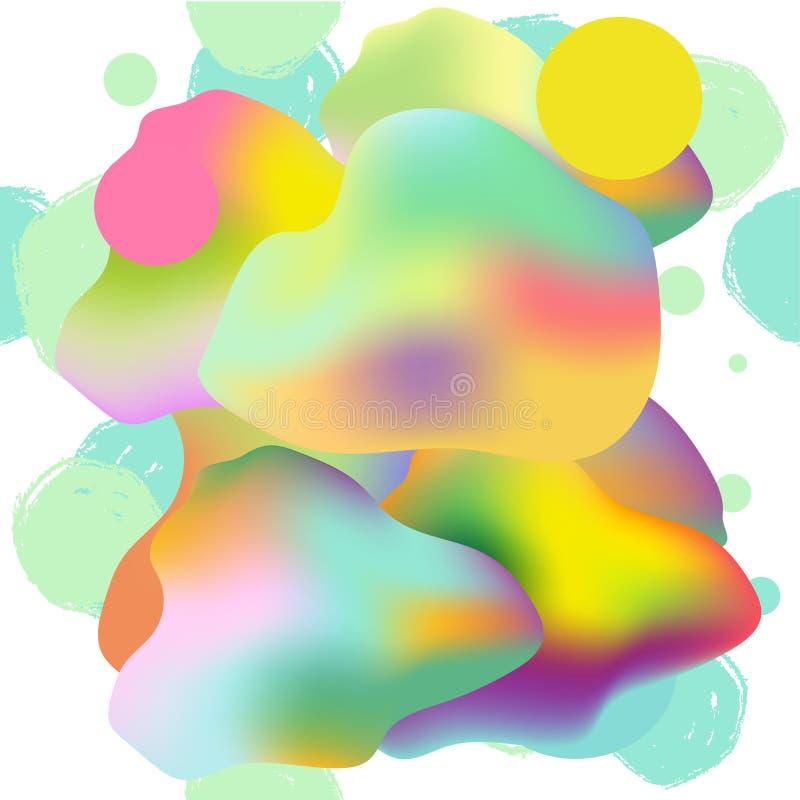 Ζωηρόχρωμη σύγχρονη αφηρημένη αφίσα, κάρτα με τις κλίσεις, grunge, χρωματισμένη ρευστή, οργανική γεωμετρική μορφή στο άσπρο υπόβα διανυσματική απεικόνιση