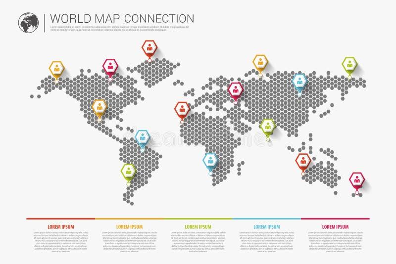 Ζωηρόχρωμη σύγχρονη infographic έννοια σύνδεσης παγκόσμιων χαρτών διάνυσμα διανυσματική απεικόνιση