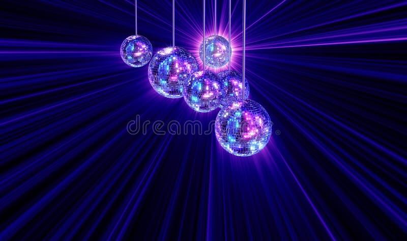 Ζωηρόχρωμη φοβιτσιάρης ανασκόπηση με τις σφαίρες disco καθρεφτών ελεύθερη απεικόνιση δικαιώματος