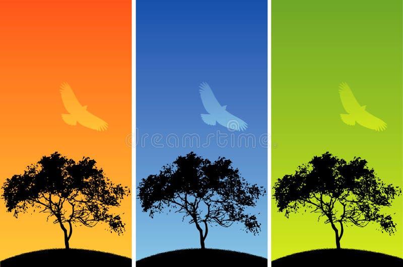 ζωηρόχρωμη φύση ανασκόπηση&sigma διανυσματική απεικόνιση
