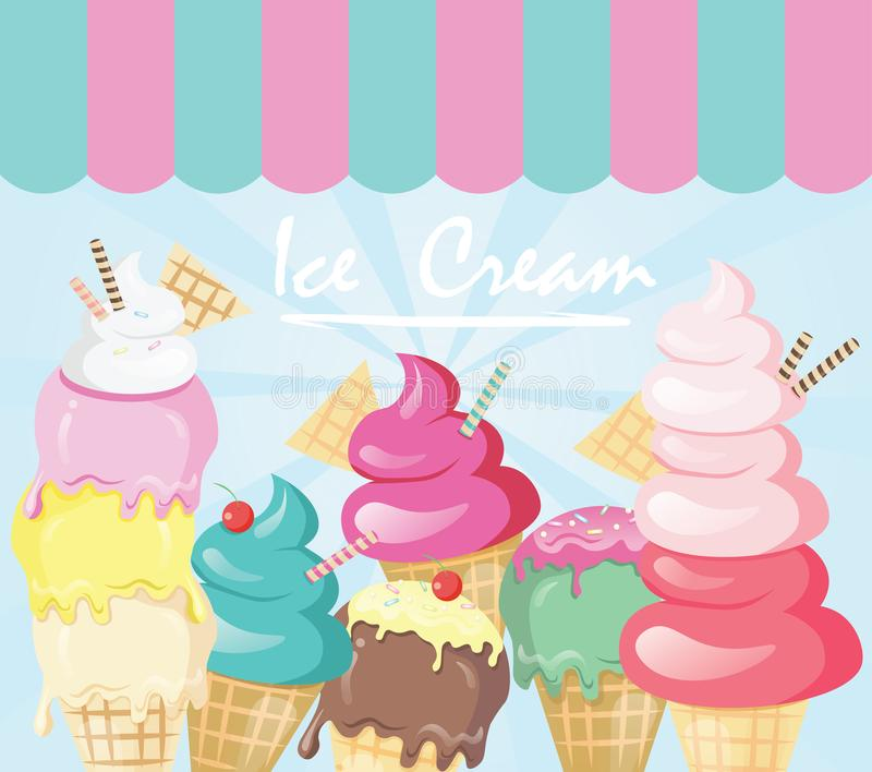 Ζωηρόχρωμη χαριτωμένη απεικόνιση παγωτού κινούμενων σχεδίων διανυσματική απεικόνιση