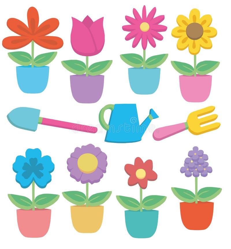 Ζωηρόχρωμη χαριτωμένη κινούμενων σχεδίων σε δοχείο συλλογή απεικόνισης λουλουδιών και εργαλείων κηπουρικής διανυσματική απεικόνιση αποθεμάτων