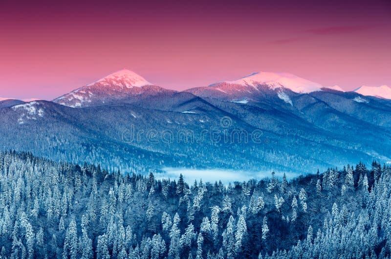 Ζωηρόχρωμη χειμερινή ανατολή στα βουνά στοκ εικόνες