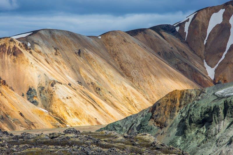 Ζωηρόχρωμη όψη τοπίων βουνών Landmannalaugar στοκ εικόνες