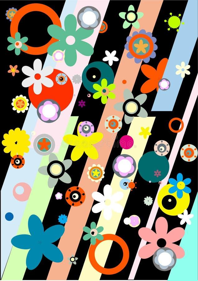 Ζωηρόχρωμη floral ανασκόπηση διανυσματική απεικόνιση