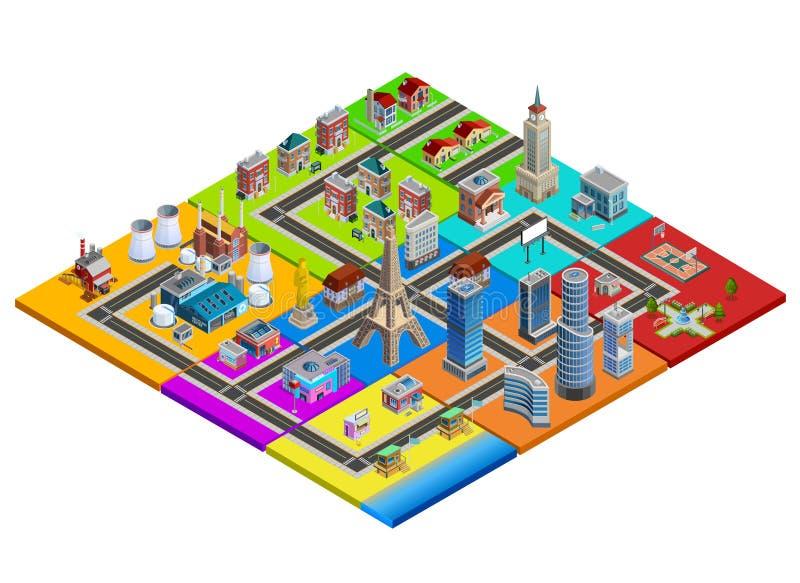 Ζωηρόχρωμη Isometric εικόνα κατασκευαστών χαρτών πόλεων ελεύθερη απεικόνιση δικαιώματος