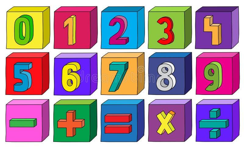Ζωηρόχρωμοι αριθμοί από 1 έως 9 με τις μαθηματικές διαδικασίες στους φραγμούς απεικόνιση αποθεμάτων
