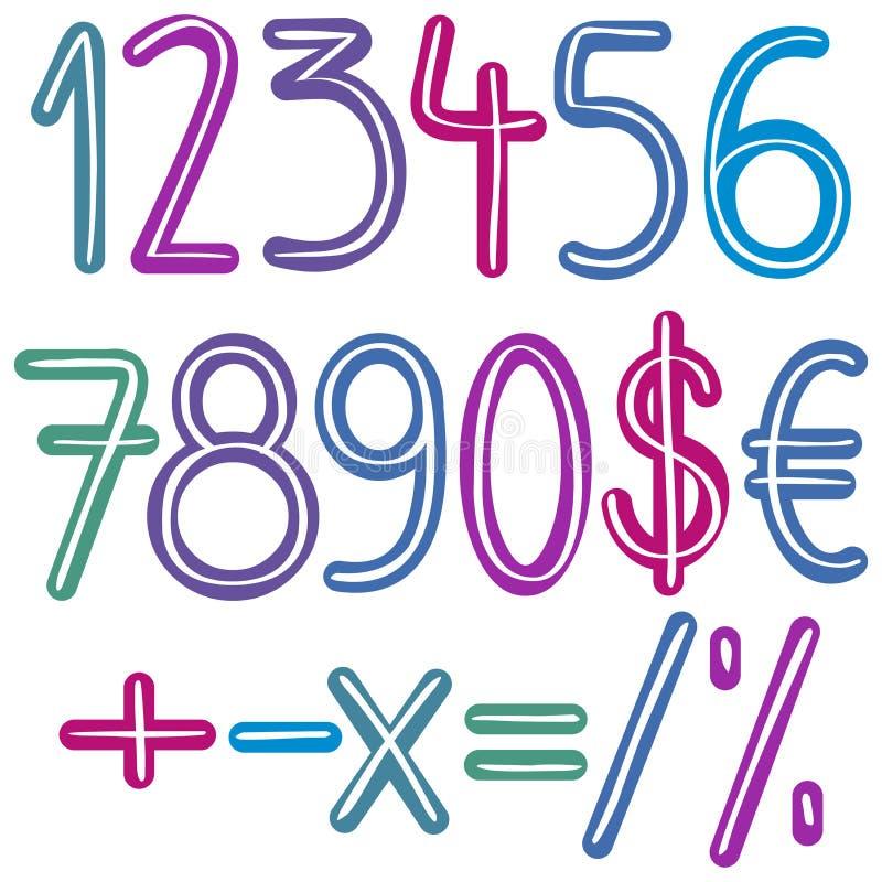 Ζωηρόχρωμοι αριθμοί βουρτσών διανυσματική απεικόνιση