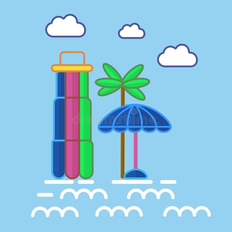 Ζωηρόχρωμοι εξοπλισμοί Aquapark στη γραφική διανυσματική αφίσα σχεδίου ελεύθερη απεικόνιση δικαιώματος