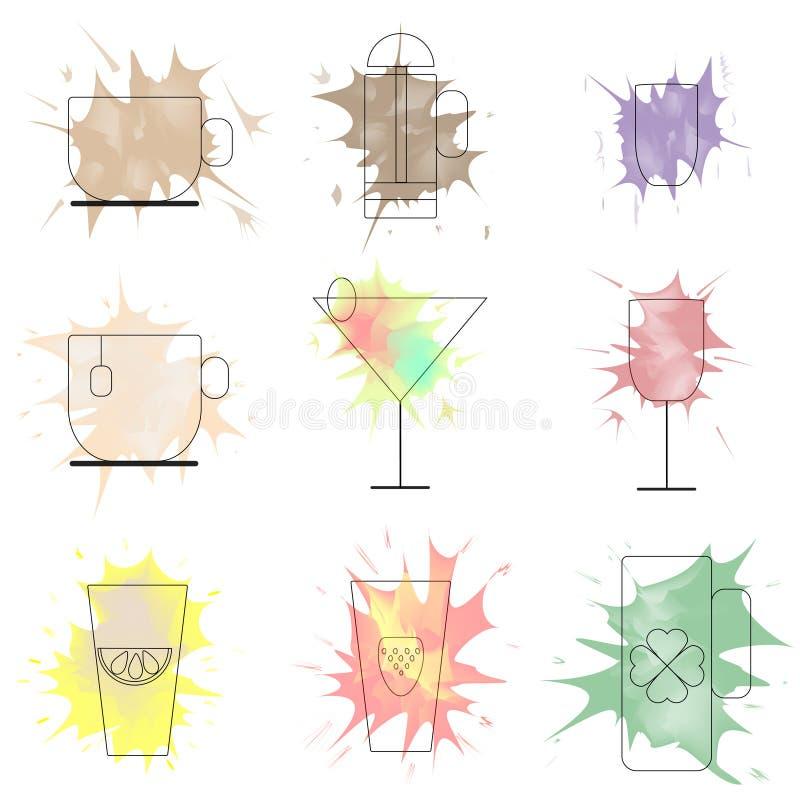Ζωηρόχρωμοι παφλασμοί ποτών για τις επιλογές καφετεριών ελεύθερη απεικόνιση δικαιώματος