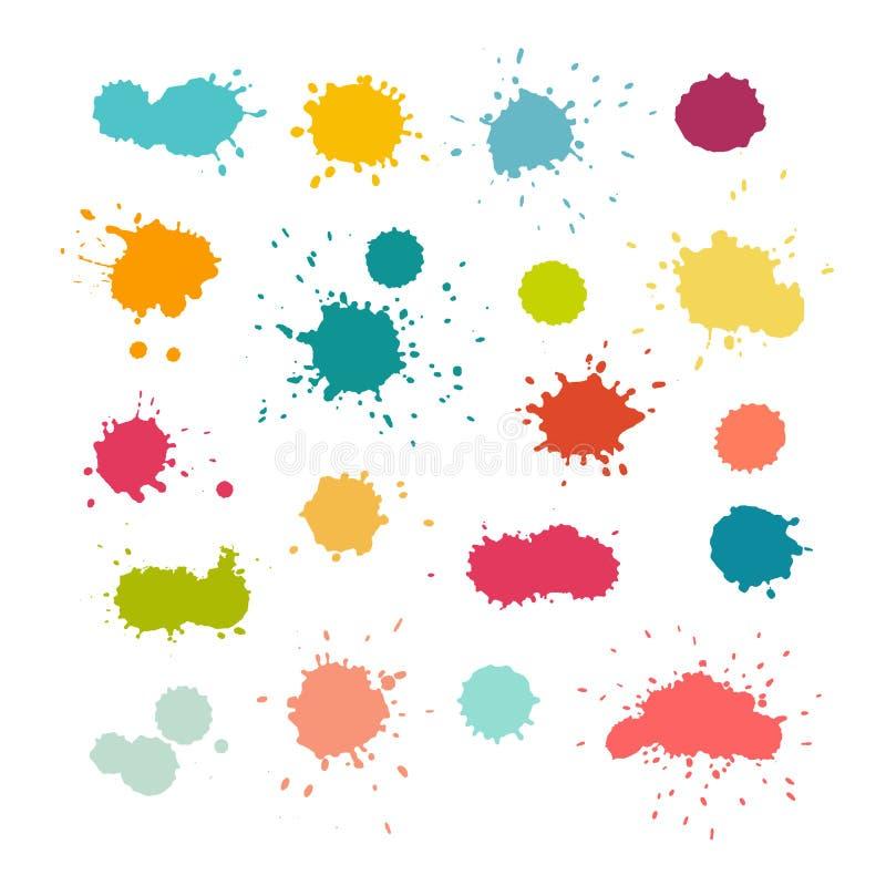Ζωηρόχρωμοι παφλασμοί και πτώσεις χρωμάτων ελεύθερη απεικόνιση δικαιώματος