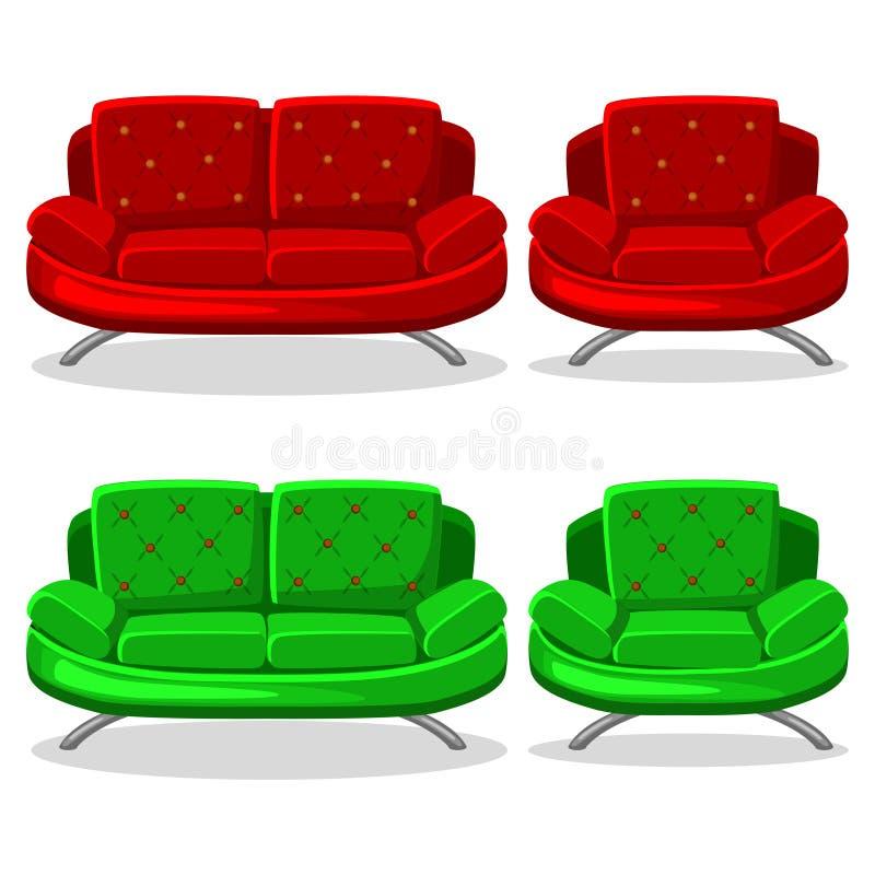 Ζωηρόχρωμοι πολυθρόνα κινούμενων σχεδίων και καναπές, σύνολο 11 ελεύθερη απεικόνιση δικαιώματος