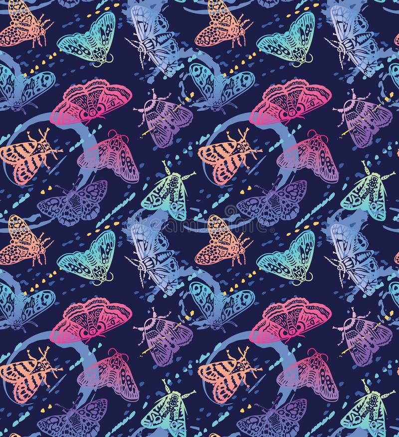 Ζωηρόχρωμοι σκώροι με το άνευ ραφής σχέδιο παφλασμών Διακοσμητικές συρμένες χέρι πεταλούδες στην καθιερώνουσα τη μόδα κλίση διανυσματική απεικόνιση