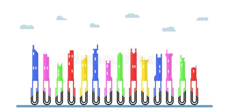 Ζωηρόχρωμοι συνδετήρες εγγράφου στην έννοια της επίπεδης πόλης Διανυσματικό isol σχεδίου ελεύθερη απεικόνιση δικαιώματος