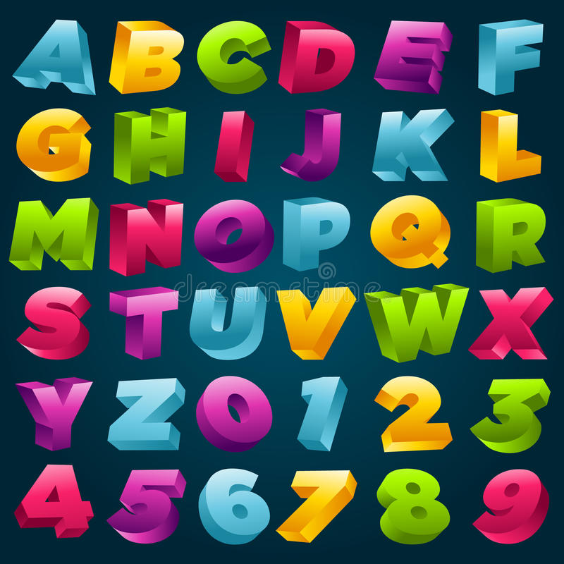 Ζωηρόχρωμοι τρισδιάστατοι αλφάβητο και αριθμοί απεικόνιση αποθεμάτων