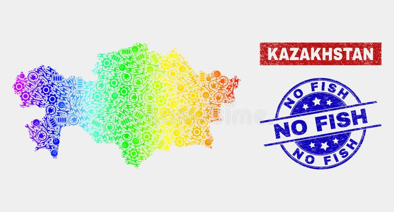 Ζωηρόχρωμοι χάρτης και Grunge του Καζακστάν κατασκευής κανένα υδατόσημο ψαριών ελεύθερη απεικόνιση δικαιώματος