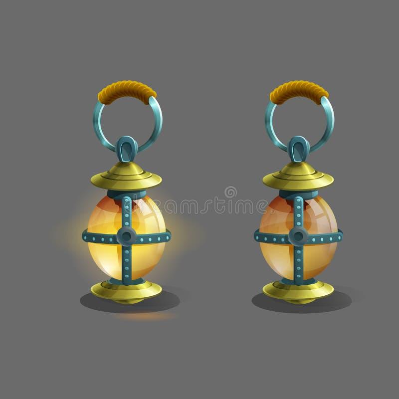 Ζωηρόχρωμος αρχαίος λαμπτήρας κινούμενων σχεδίων για τα παιχνίδια φαντασίας απεικόνιση αποθεμάτων