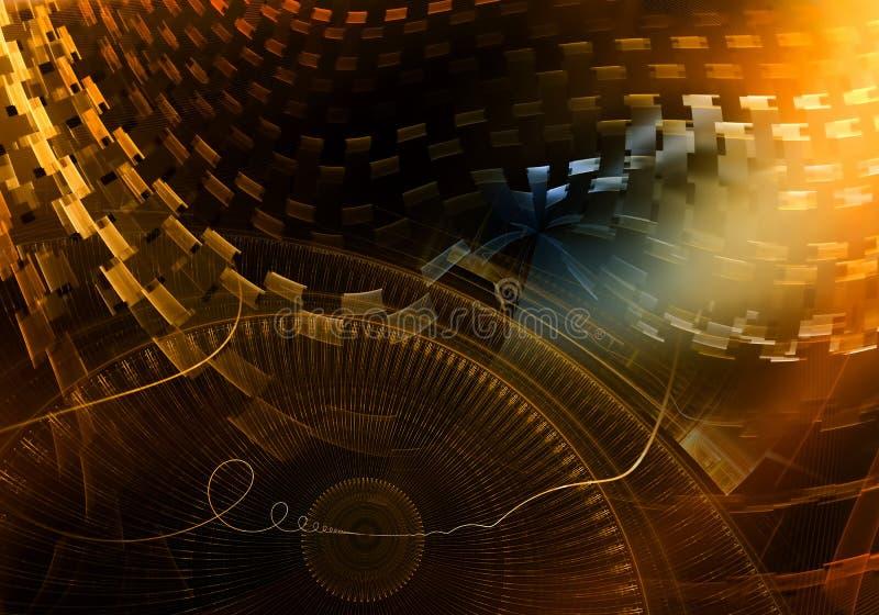 Ζωηρόχρωμος αρχαίος μηχανισμός με χρυσά Cogwheels και το εργαλείο μετάλλων ελεύθερη απεικόνιση δικαιώματος