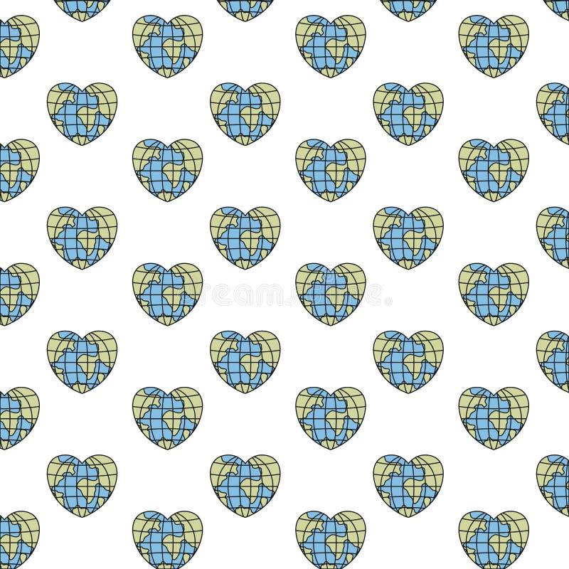 Ζωηρόχρωμος γήινος κόσμος σφαιρών σχεδίων σκιαγραφιών στη μορφή καρδιών ελεύθερη απεικόνιση δικαιώματος
