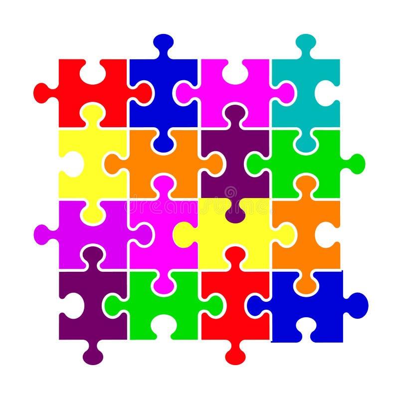 Ζωηρόχρωμος γρίφος υποβάθρου κομματιών Έμβλημα τορνευτικών πριονιών Διανυσματικό πρότυπο απεικόνισης Παιχνίδι γρίφων, κομμάτια γρ απεικόνιση αποθεμάτων