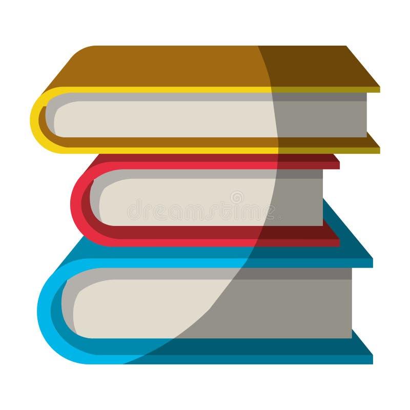 Ζωηρόχρωμος γραφικός της συλλογής των βιβλίων χωρίς το περίγραμμα και μισή σκιά διανυσματική απεικόνιση