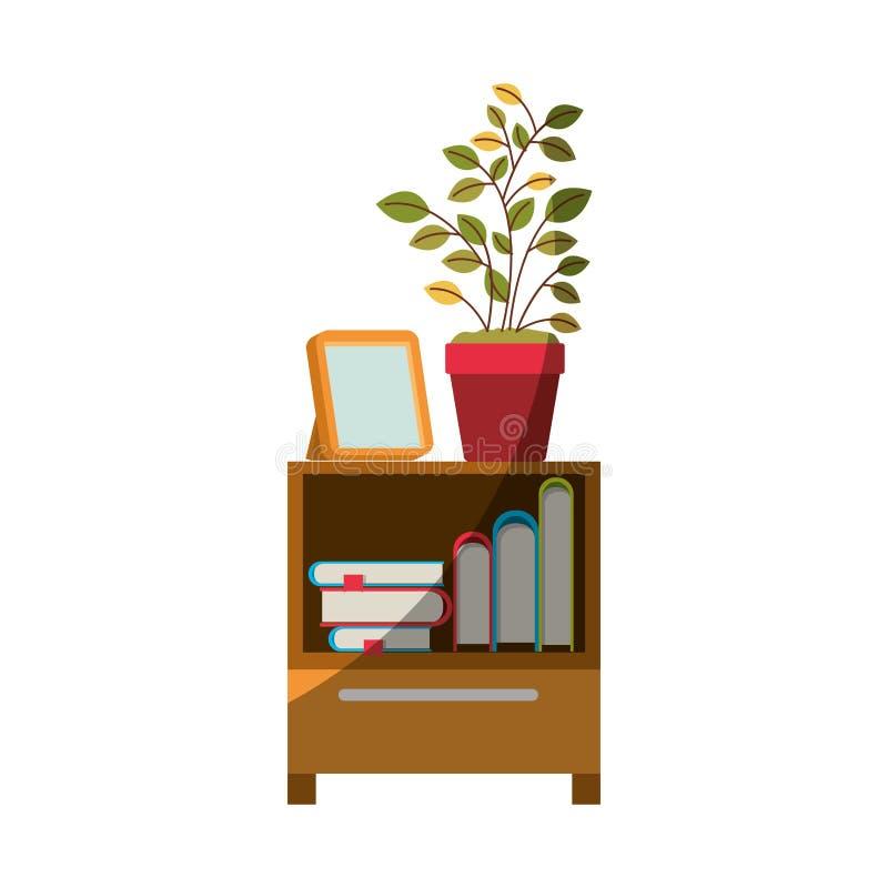 Ζωηρόχρωμος γραφικός του διακοσμητικού πίνακα γραφείων με τα βιβλία και plantpot χωρίς το περίγραμμα και μισή σκιά απεικόνιση αποθεμάτων
