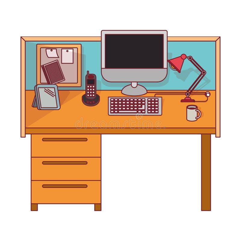 Ζωηρόχρωμος γραφικός του εσωτερικού γραφείων εργασιακών χώρων με το σκούρο κόκκινο περίγραμμα γραμμών διανυσματική απεικόνιση