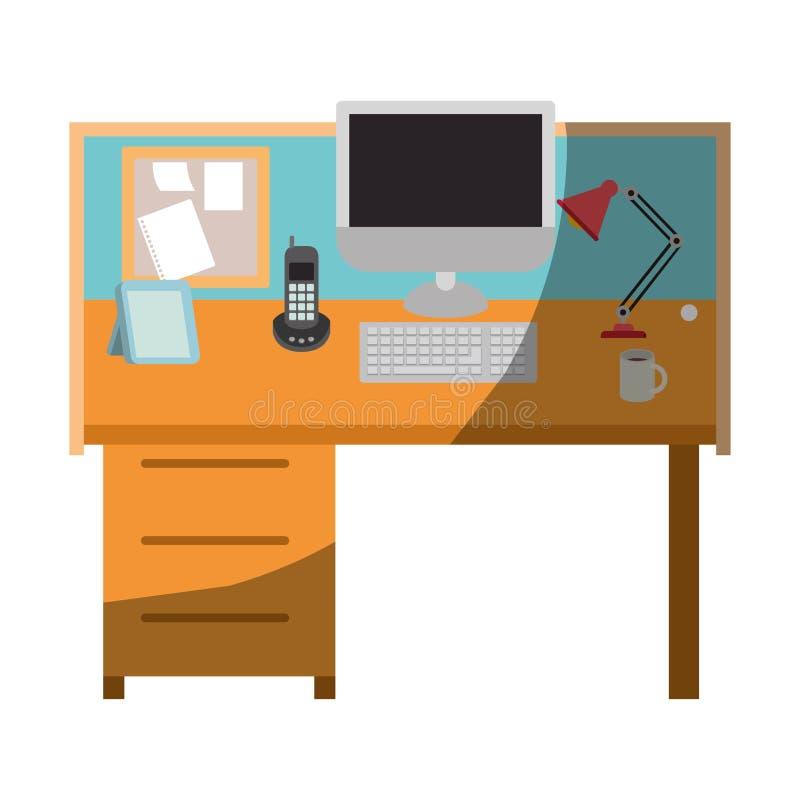 Ζωηρόχρωμος γραφικός του εσωτερικού γραφείων εργασιακών χώρων χωρίς το περίγραμμα και μισή σκιά απεικόνιση αποθεμάτων