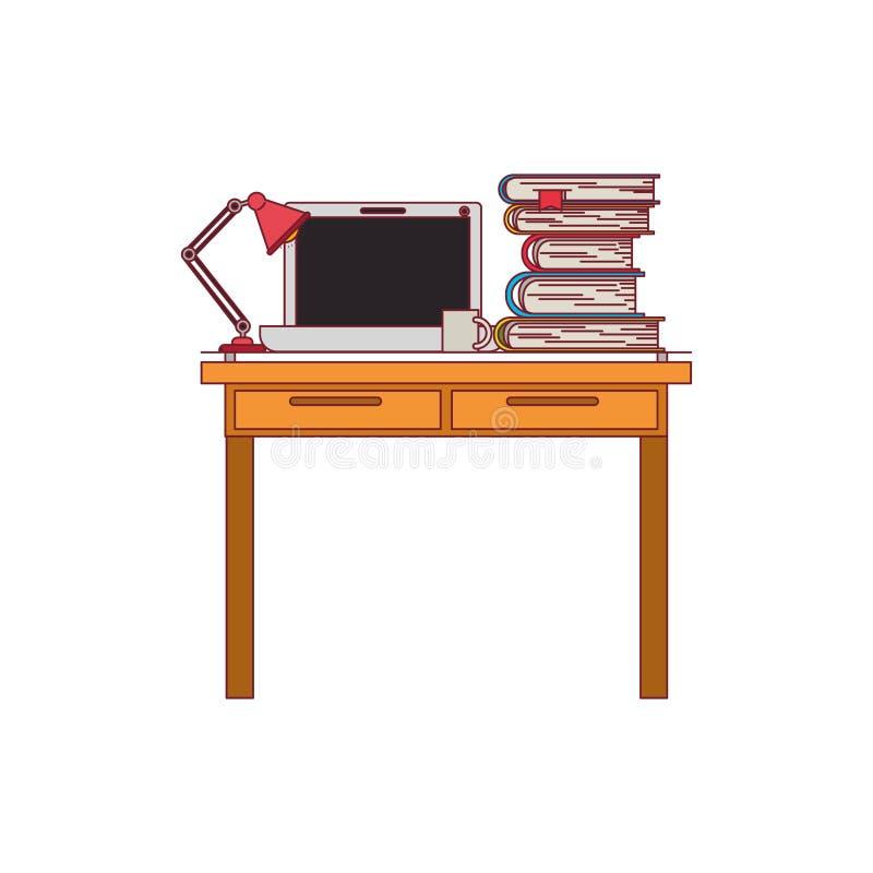 Ζωηρόχρωμος γραφικός του εσωτερικού γραφείων χώρων εργασίας με τα βιβλία φορητών προσωπικών υπολογιστών και λαμπτήρων και σωρών μ ελεύθερη απεικόνιση δικαιώματος