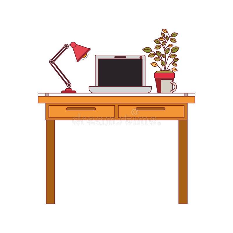 Ζωηρόχρωμος γραφικός του εσωτερικού γραφείων χώρων εργασίας με το φορητό προσωπικό υπολογιστή και το λαμπτήρα και plantpot με το  ελεύθερη απεικόνιση δικαιώματος
