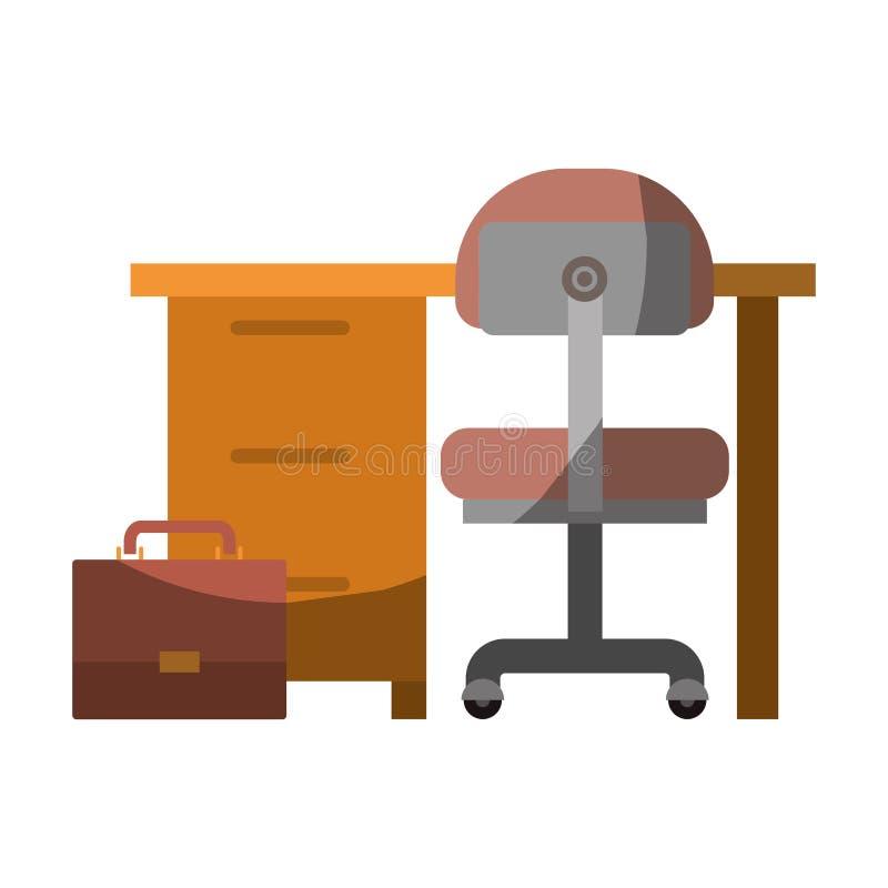 Ζωηρόχρωμος γραφικός του εσωτερικού και του χαρτοφυλακίου γραφείων χώρων εργασίας χωρίς το περίγραμμα και μισή σκιά απεικόνιση αποθεμάτων