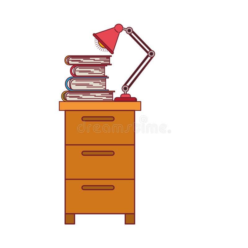 Ζωηρόχρωμος γραφικός του ντουλαπιού αρχειοθέτησης με το λαμπτήρα και των βιβλίων με το σκούρο κόκκινο περίγραμμα γραμμών διανυσματική απεικόνιση