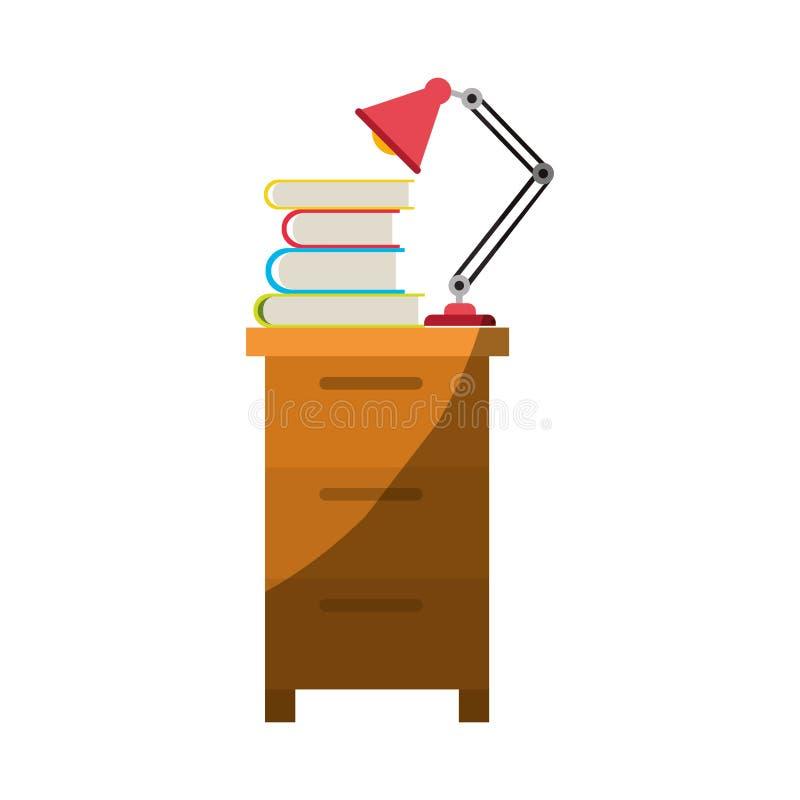 Ζωηρόχρωμος γραφικός του ντουλαπιού αρχειοθέτησης με το λαμπτήρα και των βιβλίων χωρίς το περίγραμμα και μισή σκιά ελεύθερη απεικόνιση δικαιώματος