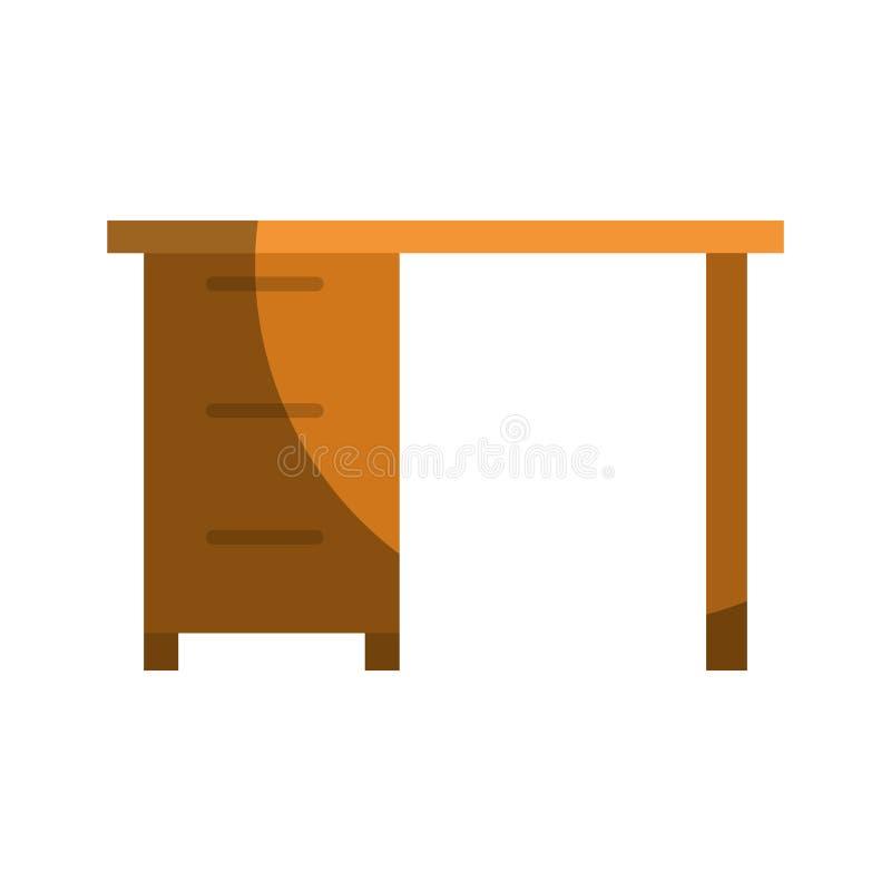 Ζωηρόχρωμος γραφικός του ξύλινου γραφείου γραφείων με τα συρτάρια χωρίς το περίγραμμα και μισή σκιά ελεύθερη απεικόνιση δικαιώματος