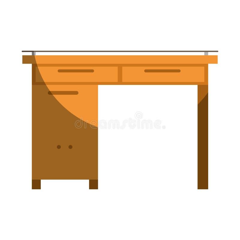 Ζωηρόχρωμος γραφικός του ξύλινου εγχώριου γραφείου χωρίς το περίγραμμα και μισή σκιά απεικόνιση αποθεμάτων