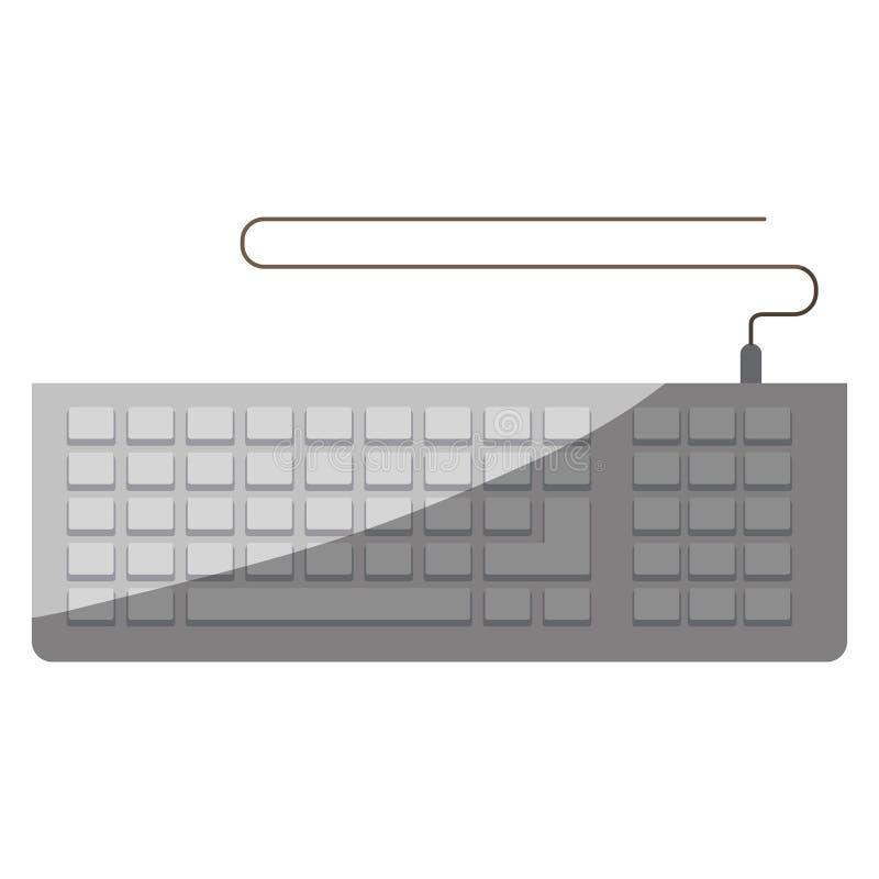 Ζωηρόχρωμος γραφικός του πληκτρολογίου υπολογιστών χωρίς το περίγραμμα και μισή σκιά διανυσματική απεικόνιση
