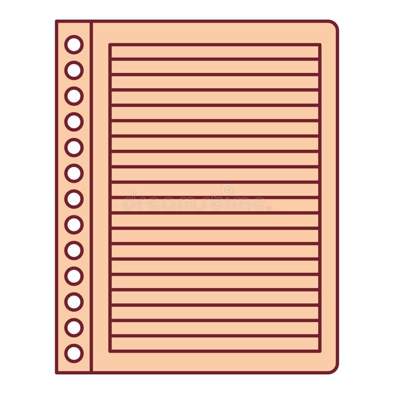 Ζωηρόχρωμος γραφικός του ριγωτού φύλλου σημειωματάριων στο κενό με το σκούρο κόκκινο περίγραμμα γραμμών ελεύθερη απεικόνιση δικαιώματος