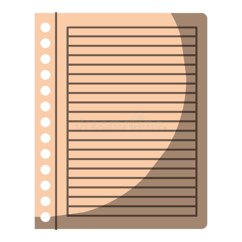 Ζωηρόχρωμος γραφικός του ριγωτού φύλλου σημειωματάριων στο κενό χωρίς το περίγραμμα και μισή σκιά διανυσματική απεικόνιση