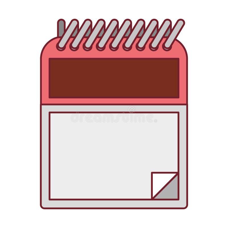 Ζωηρόχρωμος γραφικός του σημειωματάριου με τη σπείρα με το σκούρο κόκκινο περίγραμμα γραμμών ελεύθερη απεικόνιση δικαιώματος
