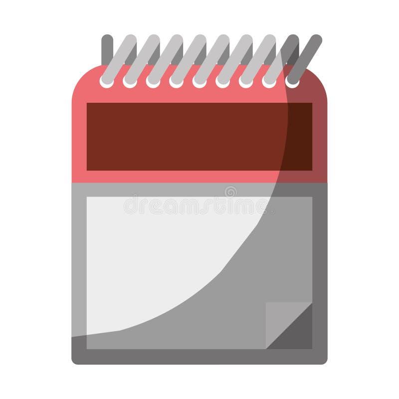 Ζωηρόχρωμος γραφικός του σημειωματάριου με τη σπείρα χωρίς το περίγραμμα και μισή σκιά ελεύθερη απεικόνιση δικαιώματος